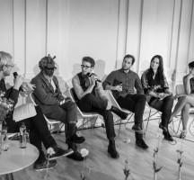 Last panel on stage. From left: Gisle M. Mardal, T-Michael, Alexander Helle, Guilherme Wortmann, Ligia Kras and Silvia Ramos Dreys